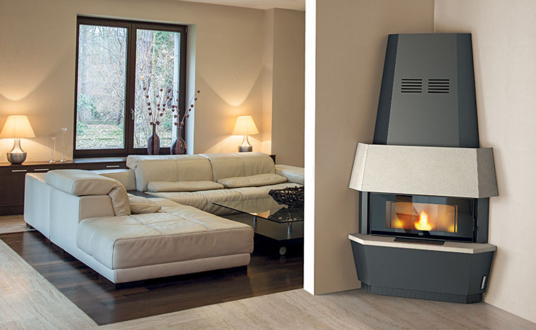 cheminee insert angulaire a granules pellet eva calor giotto 12 kw ebay. Black Bedroom Furniture Sets. Home Design Ideas